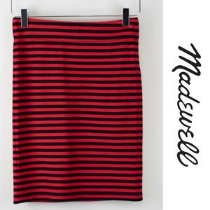 Madewell Small Red Navy Blue Knit Pencil Skirt